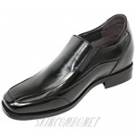 Calden Men's Invisible Height Increasing Elevator Shoes - Black Leather Slip-on Lightweight Dress Loafers - 3 Inches Taller - K333011