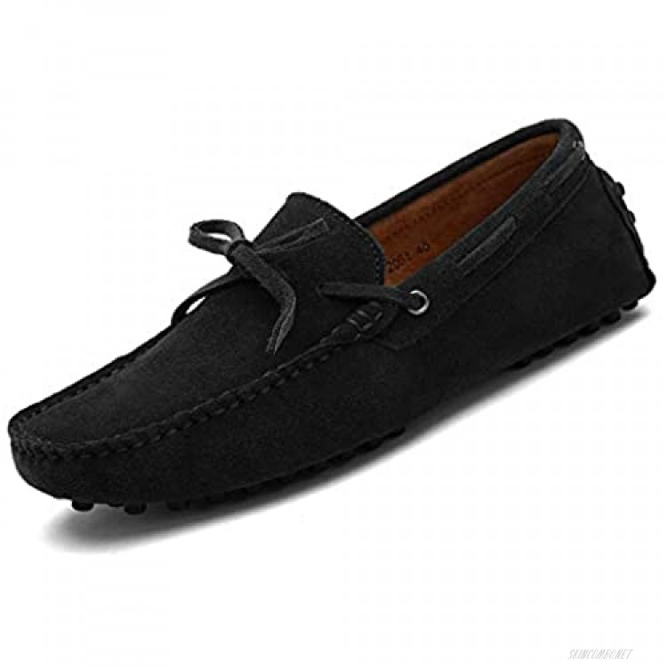 QIQIDONG Penny Loafers for Men Moccasin Driving Shoes House Slippers for Men Slip On Flats Boat Shoes for Summer Black