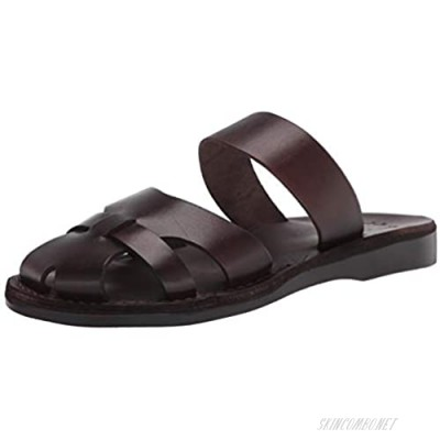 Jerusalem Sandals Mens Adino Brown Durable Handcrafted Real Leather Sandals Slide Sandals for Men With Leather upper and lining Textured sole Waterproof