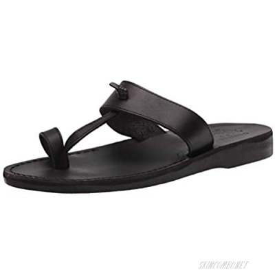 Jerusalem Sandals Mens Nathan Black Durable Handcrafted Real Leather Sandals Slide Sandals for Men with Open Toe with Toe Loop Textured Sole Waterproof