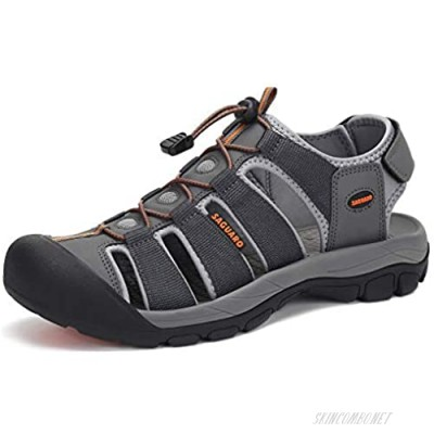 Mens Sport Sandals Wide Athletic Sandal Closed Toe Hiking Sandals Water Resistant Summer Outdoor Water Sandal River Beach Grey