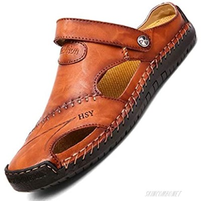 NANXIN&LOVE Mens Casual Leather Sandals Summer Beach Slipper Mens Comfort Outdoor Shoes Fashion Lightweight Trail Water Sandal Adjustable ?Two Ways? Brown 8.5