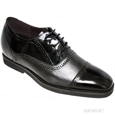 Calden Men's Invisible Height Increasing Elevator Shoes - Black Leather Lace-up Lightweight Formal Dress Oxfords - 2.8 Inches Taller - K320021