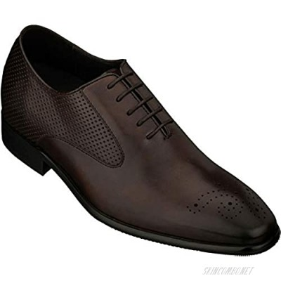 CALTO Men's Invisible Height Increasing Elevator Shoes - Premium Leather Lace-up Formal Oxfords - 2.4 Inches Taller