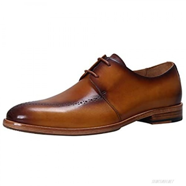 ELANROMAN Men's Oxford Dress Shoes Genuine Leather Luxury Handcrafted Lace up Shoes