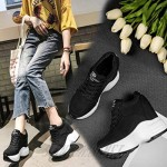 JOYBI Women Breathable Sneakers Comfort Lace Up Trainers Slip On Platform Wedge Casual Walking Shoes