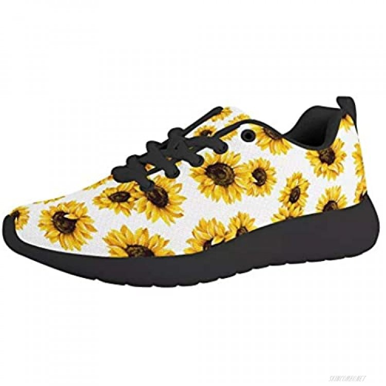 Sunflower Print Women Athletic Walking Shoes Fashion Sneakers Cute Floral Travel Work Running Shoes