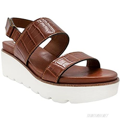 Sugar Womens Open Toe Ankle Strap Platform Wedge Sandals - Two-Band Wedge Sandals with Velcro Ankle Closure 9 Brown Croc