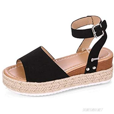 Tmore Womens Casual Espadrilles Platform Wedge Buckle Faux Leather Studded Ankle Strap Open Toe Sandals