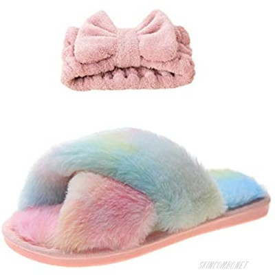 Women's Cross Band Slippers Open Toe Soft Plush Fleece Slip On House Slippers Flip Flop Cozy Anti-Skid Indoor Outdoor Shoes Spa Slippers with Headband